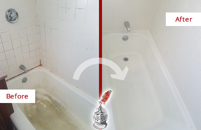Before and After Picture of a Skippack Bathtub Caulked to Repair Cracks
