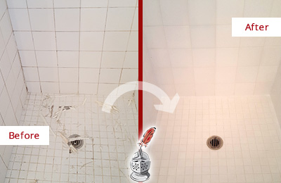 Before and After Picture of a Bedminster Bathroom Re-Caulked To Repair Damaged Caulking