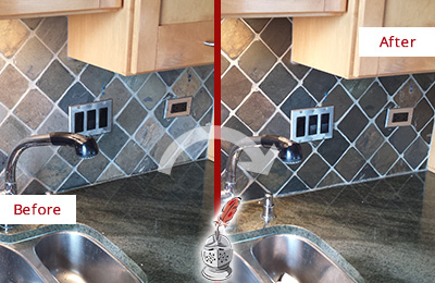 Before and After Picture of a Croydon Backsplash Caulked to Fix and Prevent Water Leaks