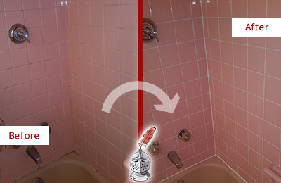 Before and After Picture of a Cedars Bathtub Caulked to Eliminate Mold