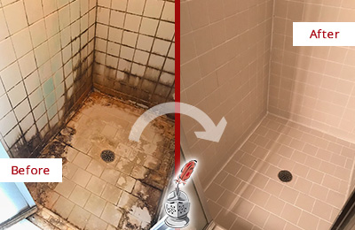 Before and After Picture of a Audubon Shower Caulked to Fix and Prevent Water Damage