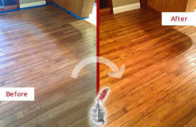 Before and After Picture of a Buckingham Wood Sandless Refinishing Service on a Dull Floor to Recover Its Sheen
