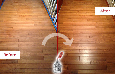 Before and After Picture of a Buckingham Wood Sandless Refinishing Service on a Dull Hallway