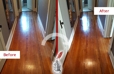 Before and After Picture of a Lederach Wood Sandless Refinishing Service on a Floor to Eliminate Scratches