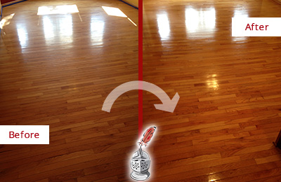 Before and After Picture of a Lederach Wood Sandless Refinishing Service on a Room Floor to Remove Scratches