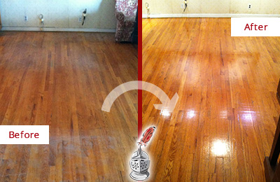 Before and After Picture of a Buckingham Wood Sandless Refinishing Service on a Stained Floor