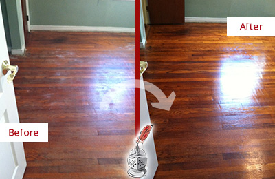 Before and After Picture of a Lederach Wood Sandless Refinishing Service on a Dull Floor to Remove Stains
