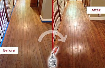 Before and After Picture of a Buckingham Wood Sandless Refinishing Service on a Worn Out Floor