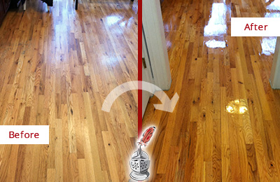Before and After Picture of a Buckingham Wood Sandless Refinishing Service on a Worn Out Hallway