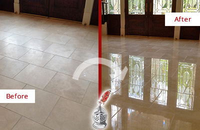 Before and After Picture of a Dull Collegeville Travertine Stone Floor Polished to Recover Its Gloss