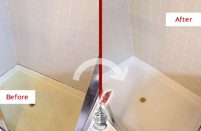 Before and After Picture of a Dresher Shower Sealed to Remove and Protect Against Mold