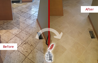 Before and After Picture of a Danboro Kitchen Marble Floor Cleaned to Remove Embedded Dirt