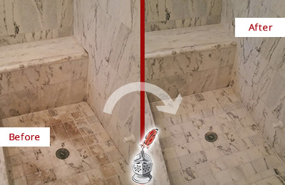 Before and After Picture of a Dirty Danboro Marble Shower Cleaned to Eliminate Dark Stains