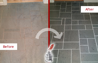 Before and After Picture of a Danboro Slate Floor Cleaned to Remove Deep-Seated Dirt