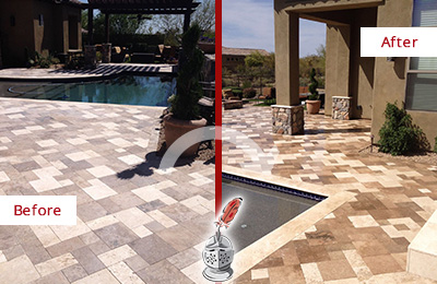 Before and After Picture of a Dull Danboro Travertine Pool Deck Cleaned to Recover Its Original Colors