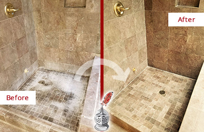 Before and After Picture of a Danboro Travertine Shower Cleaned to Eliminate Water Spots