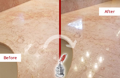 Before and After Picture of a Sassamansville Marble Stone Vanity Top Sealed to Avoid Water Marks