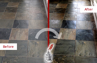 Before and After Picture of a Colmar Slate Stone Floor Sealed to Eliminate Dullness