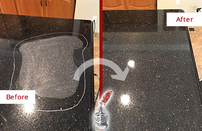 Before and After Picture of a Bridgeport Granite Kitchen Countertop Honed to Eliminate Scratch