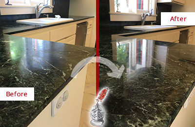 Before and After Picture of a Blooming Glen Marble Kitchen Countertop Honed to Remove Water Marks