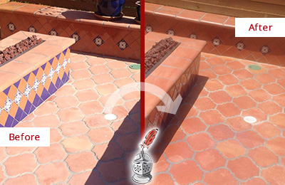 Before and After Picture of a Green Lane Hard Surface Restoration Service on a Dull Terracotta Patio Floor to Recover Its Color