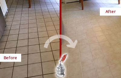 Before and After Picture of a Carversville Kitchen Tile Floor with Recolored Grout