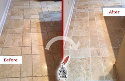 Before and After Picture of a Carversville Travertine Kitchen Floor Recolored Grout