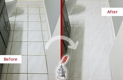 Before and After Picture of a Chalfont White Ceramic Tile with Recolored Grout