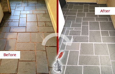 Before and After Picture of Damaged Hilltown Slate Floor with Sealed Grout