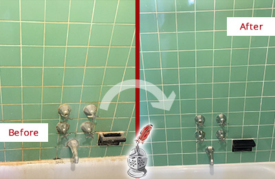 Before and After Picture of a Hilltown Bath Tub Grout Sealed to Avoid Water Damage