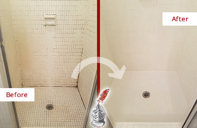 Before and After Picture of a Hilltown Bathroom Grout Sealed to Remove Mold