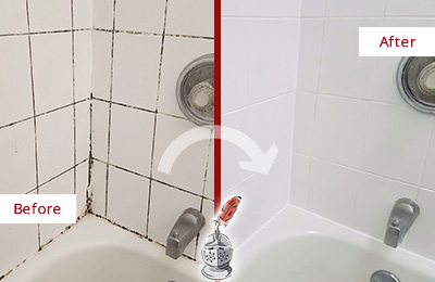 Before and After Picture of a Hilltown Tub with Sealed Grout to Eliminate Mold