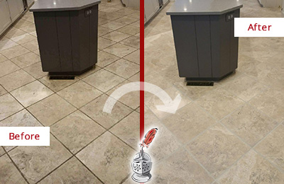 Before and After Picture of a Hilltown Kitchen Floor Grout Sealed to Remove Stains