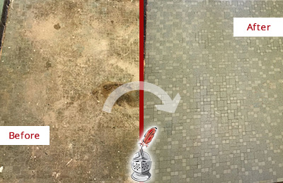 Before and After Picture of a Bethlehem Mosaic Shower Cleaned to Eliminate Embedded Dirt