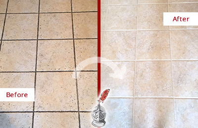 Before and After Picture of a Bethlehem Ceramic Floor Cleaned to Remove Soil